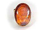 НА ЗАКАЗ Кольцо «Янтарная Камея» (коллекционное стекло) - V552