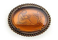 АРХИВ Брошь «Танцующий Купидон» коллекционное стекло intaglio