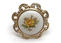 ОДИН ЭКЗ Кольцо «Желтая Роза» (винтажный японский фарфор) - V715