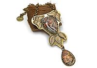 АРХИВ ОДИН ЭКЗ Колье «Бабочки над Листопадом (Леопардовый Агат)»