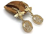 АРХИВ Серьги «Пчелы над Розами Intaglio» - V797