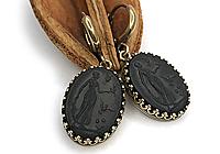 Серьги «Черная Диана (винтажное стекло)» - V839