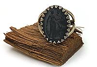 НА ЗАКАЗ ОДНО Кольцо «Черная Диана (винтажное стекло)» - V840