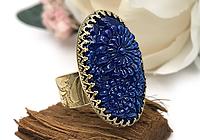 ОДИН ЭКЗ Кольцо «Лазуритовые Цветы (винтажное стекло)» - V872