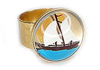 АРХИВ Кольцо «Кораблик (винтажное intaglio)» - V087
