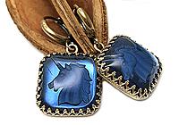 АРХИВ Серьги «Сапфировый Единорог (винтажное intaglio)» -V889