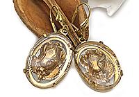 ОДИН ЭКЗ Серьги «Золотые Розы (винтажное Intaglio)» - V527