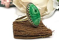 АРХИВ Кольцо «Малахитовый Скарабей» (винтажное стекло)-V895