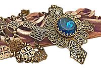 АРХИВ Колье «Крест Запада» (винтажное сапфировое стекло)-V343