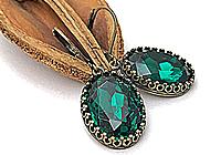 ПОСЛЕДНИЕ Серьги «Изумруд (винтажное стекло)» - V928