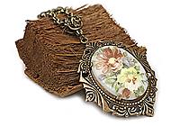 АРХИВ Кулон «Цветочный (винтажный кабошон)» - V188