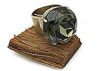 Кольцо «Черный бриллиант (винтажный дублет)» - V952