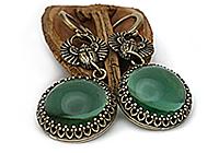 АРХИВ Серьги «Загадочный Зеленый (винтажный кабошон)»-V974