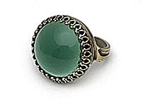 АРХИВ Кольцо «Загадочный Зеленый (винтажный кабошон)»-V975