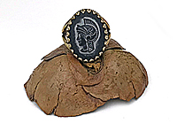 ПОСЛЕДНЕЕ Кольцо «Черный Воин (винтажный кабошон)» V425