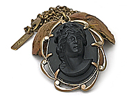 АРХИВ Кулон «Черная Камея (винтажный кабошон)»-V1022