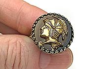 Кольцо «Черепаховый Воин (винтажный кабошон)»-V1031