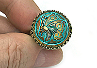 РЕЗЕРВ ОДНО Кольцо «Бабочка на Бирюзе (богемская пуговица)»V1038