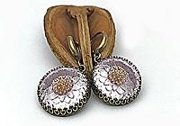 АРХИВ Серьги «Аметистовый Подсолнух (богемская пуговица)»1039