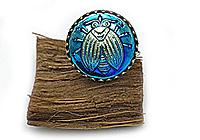 АРХИВ Кольцо «Космический Жук (богемская пуговица)»-V1044
