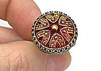 Кольцо «Королевский Красный (богемская пуговица)»-V1049
