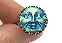 АРХИВ Кольцо «Загадочная Луна (богемская пуговица)»-V1052