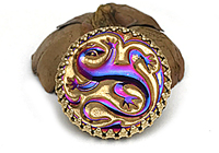 АРХИВ Пин-Брошь «Саламандра (богемская пуговица)»-V1055